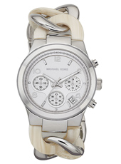 Runway Twist 38mm Silver & Ivory Print Lady Chronograph
