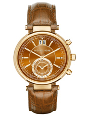 Sawyer Whiskey 39mm Gold ladies chronograph with brown leather strap