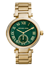 Skylar 41.50mm Gold & Green Ladies Watch with Small Second