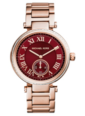 Skylar 41.50mm Rose Gold & Burgundy Ladies Watch with Small Second