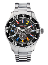NST 07  44mm Steel & Black Multifunction Watch with Maritime Flag Indexes