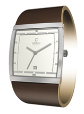 V102  34mm Square Steel & White Watch with Date, Brown Strap