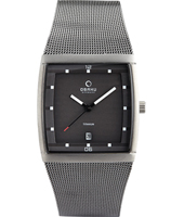 V102 34mm Square Titanium watch with Date, Mesh strap