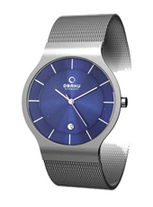 V133G  38mm Steel & Blue Mens Watch with Date, Mesh Strap