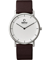 V143G  38mm Steel & White Gents Watch, Brown Strap