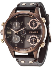 Copperhead 52mm XL bronze & black multifiunction dual time watch