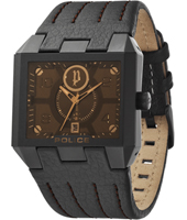 Prowler 43mm Rectangular Black & Bronze Watch with Date