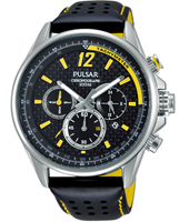 PT3541 44mm Black & Yellow Chrono with date, Leather Strap