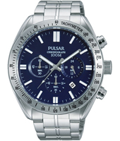 PT3607 45mm Sporty Steel & Blue Gents Chrono with Date