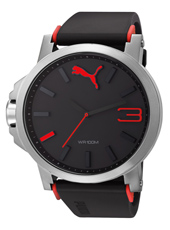 Ultrasize  50mm Steel, Black & Red Sport Fashion Watch