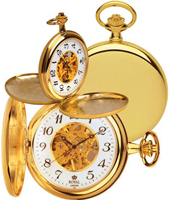 Gold 51mm Mechanical Double Hunter Pocket Watch