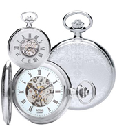 Silver 47.80mm Mechanical Half Hunter Pocket Watch