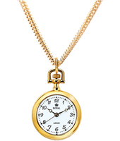 Gold 24.50mm Round Open Faced Quartz Pendant Watch