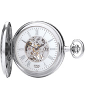 Silver 51mm Mechanical Half Hunter Pocket watch with Open Faced Back