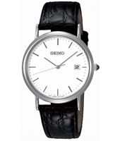 34mm Classic Steel & White Gents Watch with Date on Black Strap