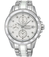 Sportura Lady 38mm Steel & White Ceramic Ladies Chrono with Date