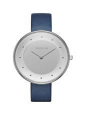 Gitte 38mm Silver Watch with Blue leather strap