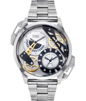 Dualon  47mm Steel Dual Time Watch with Date