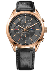 Charlie 44mm Rose gold gents watch with day/date and black leather strap