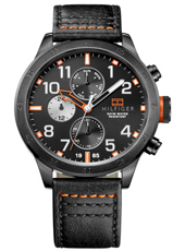 Trent 46mm Sporty gent's watch with black leather strap
