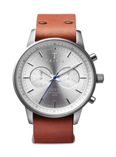 Nevil Chrono 42mm Silver Chrono, Brown Leather Strap