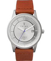 Stirling Niben 38mm Retro Steel Watch with Date, Brown Leather Strap