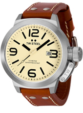 Canteen  50mm Steel Watch with Date. Cream Dial, Brown Strap