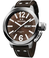 CEO Canteen  50mm Steel & Brown Day/Date Watch, Brown Strap