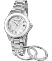 Orleans  Silver & Mother of Pearl Ladies Watch with Convertible Bezel